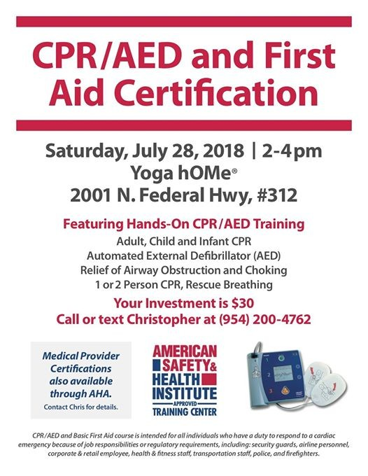 CPR AED & First Aid Certification with Chris Xiste! at Hot Yoga Home ...