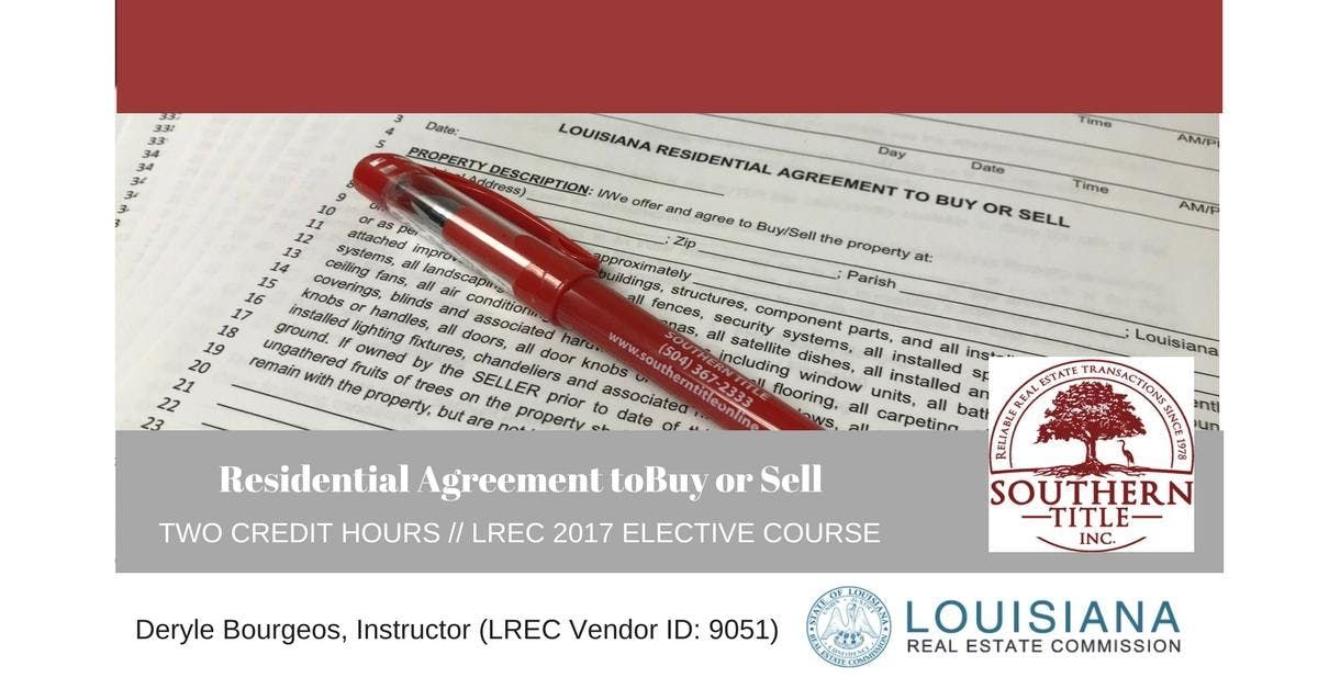 Residential Agreement To Buy Or Sell Continuing Education For