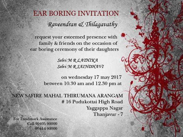 EAR BORING INVITATION