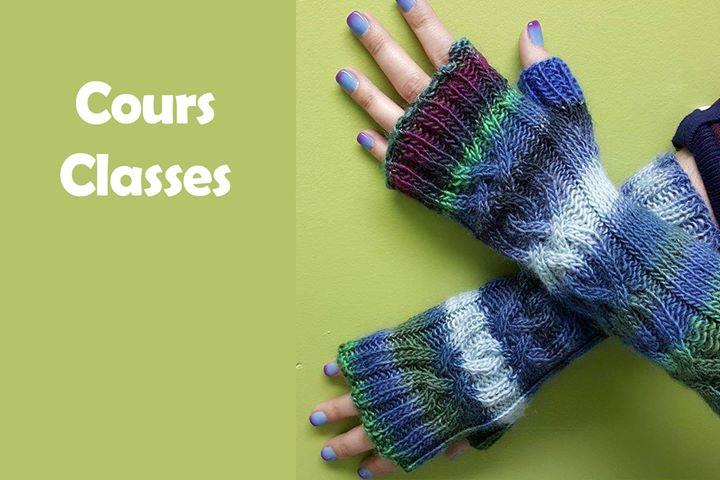 Gants sans doigts avec torsade  Fingerless Gloves with cable