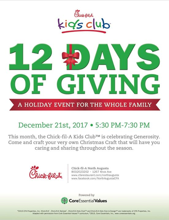 kids club 12 days of giving at north augusta chick fil a north augusta