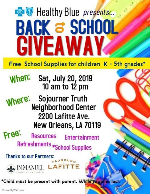 Back to School Giveaway at Sojourner Truth Neighborhood