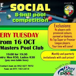 Social 8-Ball Pool Competition at Cue Masters Pool Club
