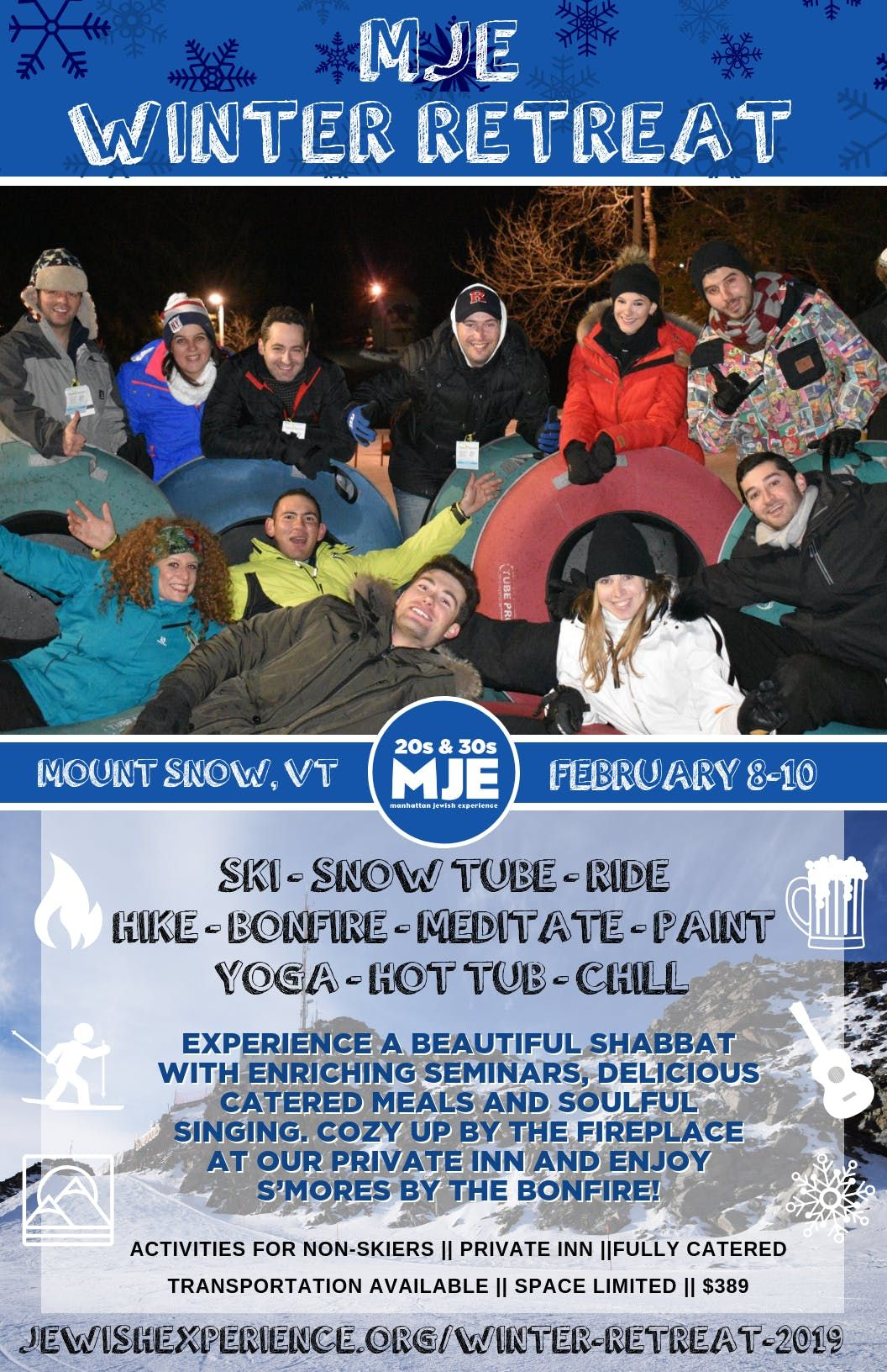 MJE 20s & 30s Winter Retreat 2019 Shabbat & Ski Weekend in Mount Snow Vermont