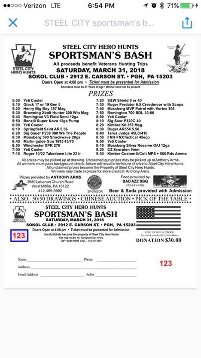 Steel City Hero Hunts Sportsmans Bash at SOKOL Club, Pittsburgh