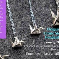 Origami Orizuru Crane Silver Pendant Workshop