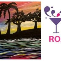 Paint Nite Roanoke (Trees on a Beach with Colorful Sky)