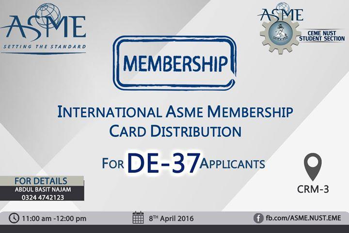 International ASME Membership Card Distribution at CRM-3