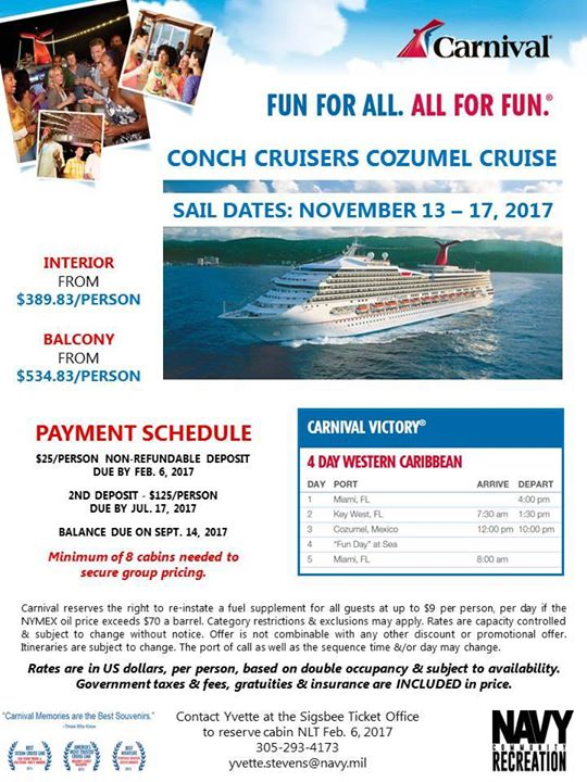 Carnival Cruise To Cozumel Mexico At Nas Key West Mwr