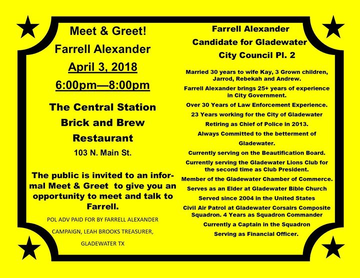 Meet and Greet Pl  2 City Council Candidate Farrell