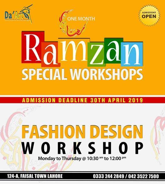 Fashion Design One Month Special Ramzan Workshop 2019 At Da Art Institute Of Art Design Lahore
