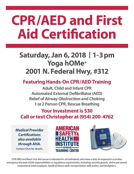 Cpr And First Aid Certification At Hot Yoga Home Pompano Beach