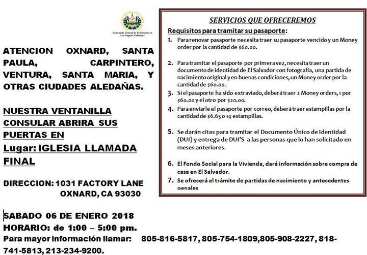 Consulado Movil en Oxnard at Consulado General de El Salvador en Los ...
