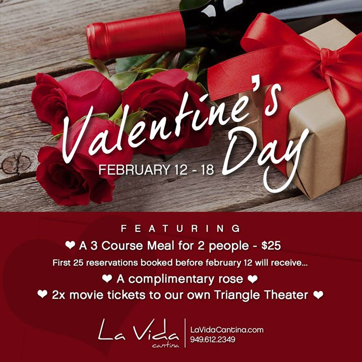 Valentines Day Week 25 Three Course Meal For 2 At La Vida Cantina