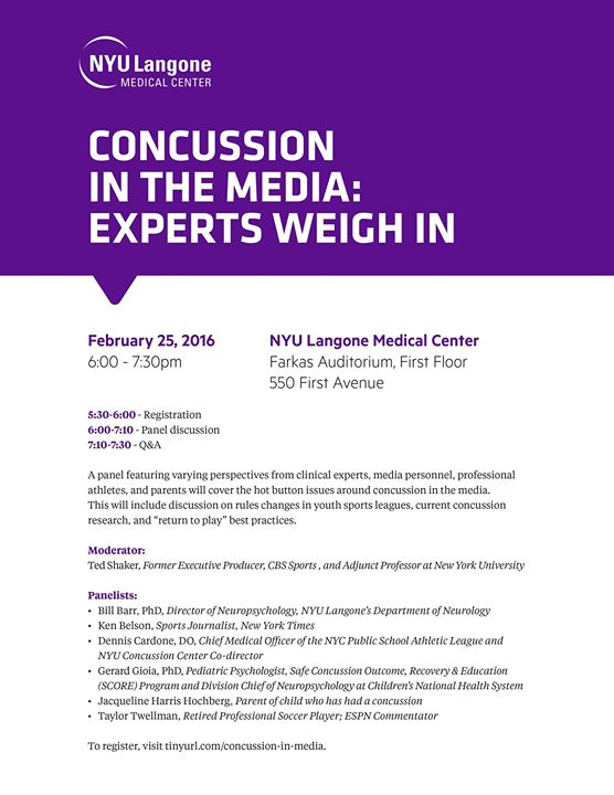 Concussion in the Media: Experts Weigh in - Sponsored by NYU Langone