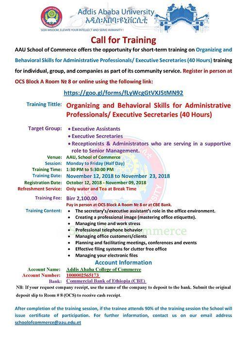 organizing behavioral skills for administrative professional at