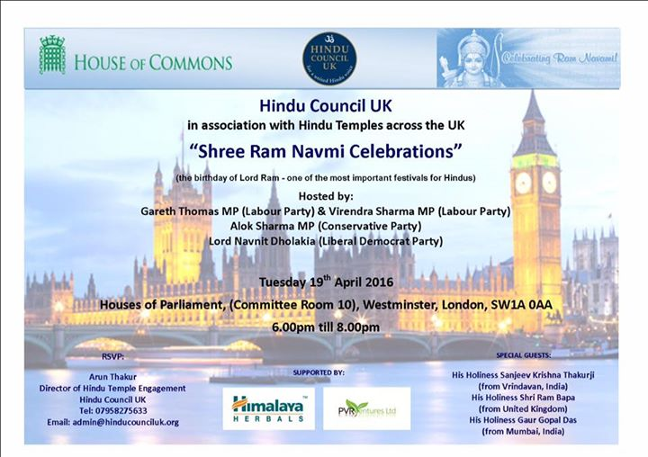 Shree Ram Navmi Celebrations at the Houses of Parliament