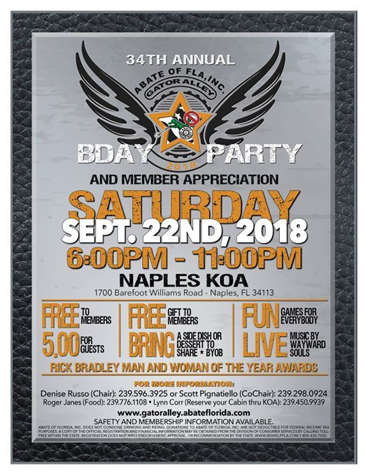 Gator Alley Chapter 34th Annual Birthday Party at Naples / Marco ...
