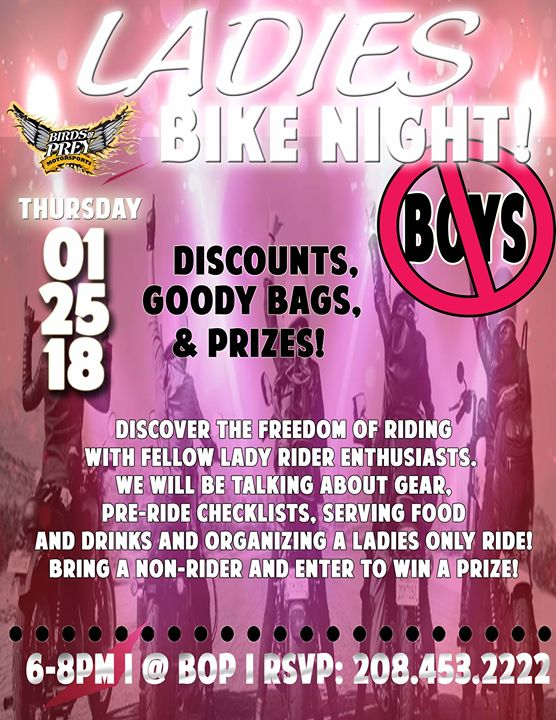 Birds Of Prey Motorsports >> Ladies Bike Night At Birds Of Prey Motorsports Caldwell