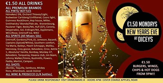 NYE 1.50 Mondays 18  All Food & Drinks 1.50
