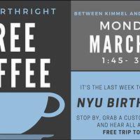 Free Coffee with NYU Birthright