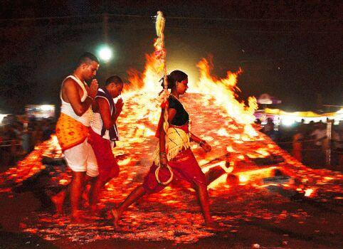 Fire Walking FestivalSri Lairai Jatra At Shirgao Lairai