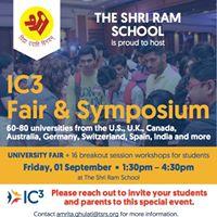 IC3 University Fair &amp Symposium at The Shri Ram School Aravali
