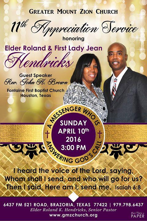 11th Pastor Appreciation Service Honoring Elder Roland