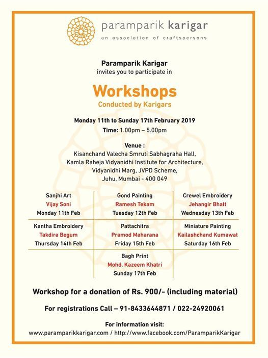 Art craft and textiles Workshops by Karigars in Mumbai
