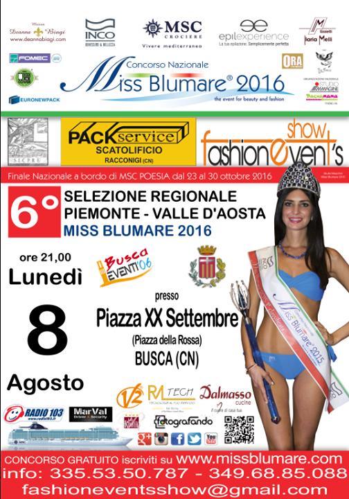 6 Selezione ufficiale di Miss Blumare Piemonte - VdA 2016 - BUSCA (CN)