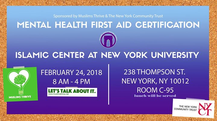 Mental Health First Aid Certification at ICNYU (ASL Interpreter Available)