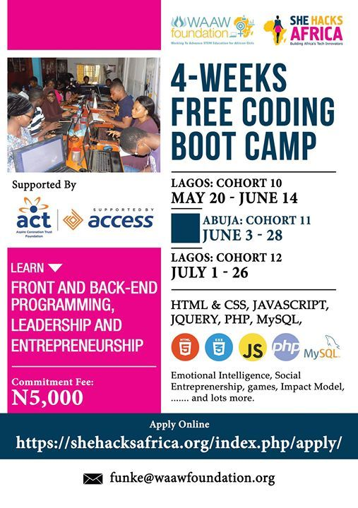 She Hacks Africa Coding Boot Camp at WAAW Foundation, Lagos