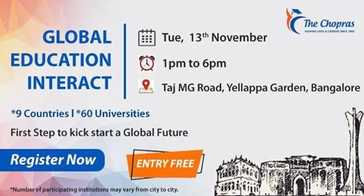 Attend Global Education Fair 2018 in Bangalore by The Chopras