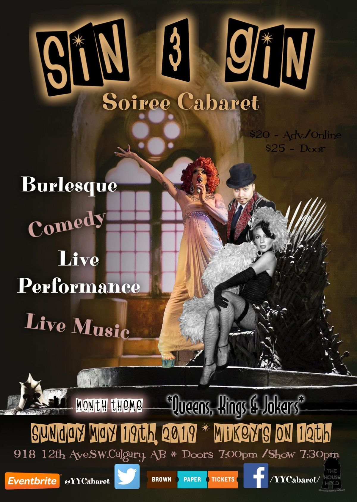 Sin & Gin Soiree Cabaret - Judith Stein Queens Kings & Jokers