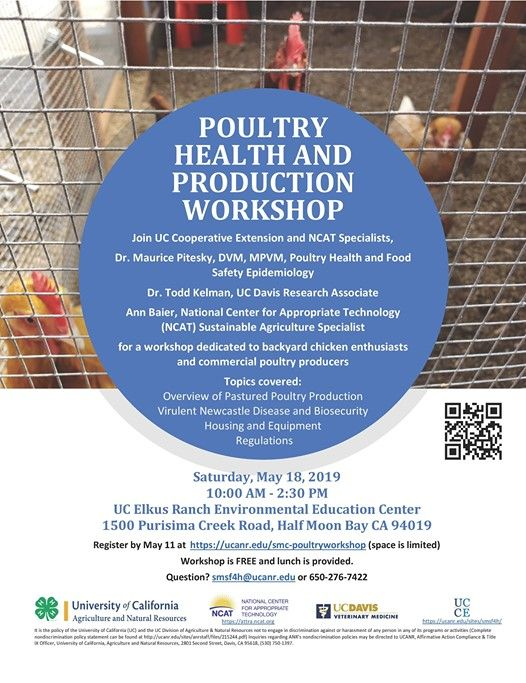 Poultry Health & Production Workshop at UC Elkus Ranch