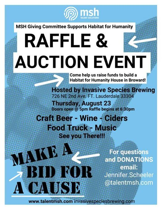 MSH Raffle & Auction for Habitat for Humanity at Invasive