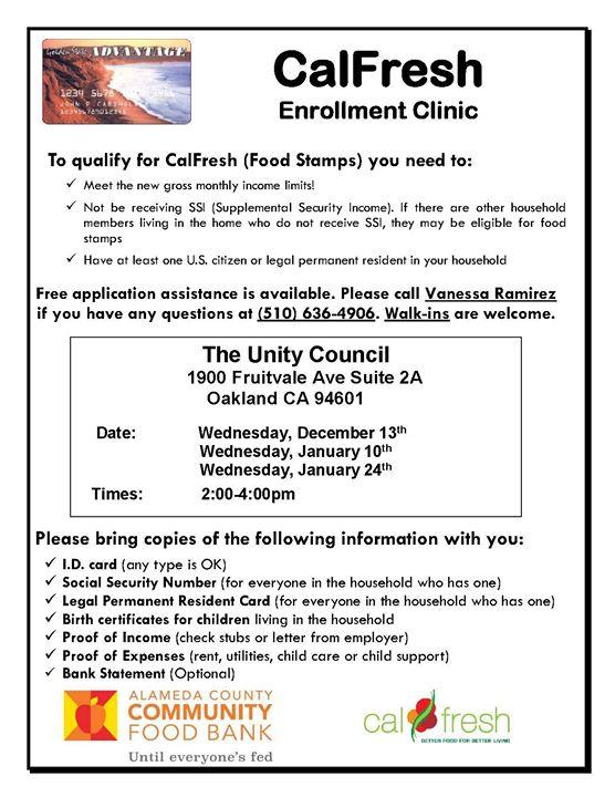 Calfresh Enrollment Clinic At The Unity Council Oakland