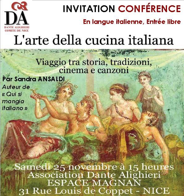 Confrence sur la cuisine italienne - La Dante Alighieri de NICE