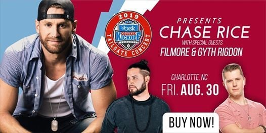Chase Rice Filmore & Gyth Rigdon LIVE for Belk Tailgate Concert
