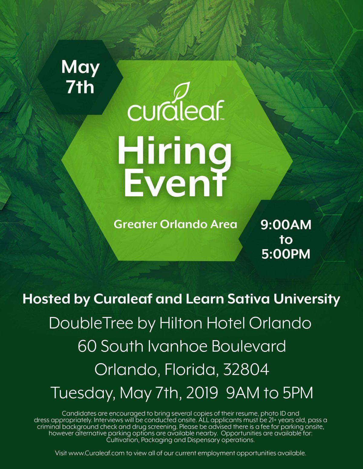 Curaleaf FL Hiring Event at 60 S Ivanhoe Blvd, Orlando