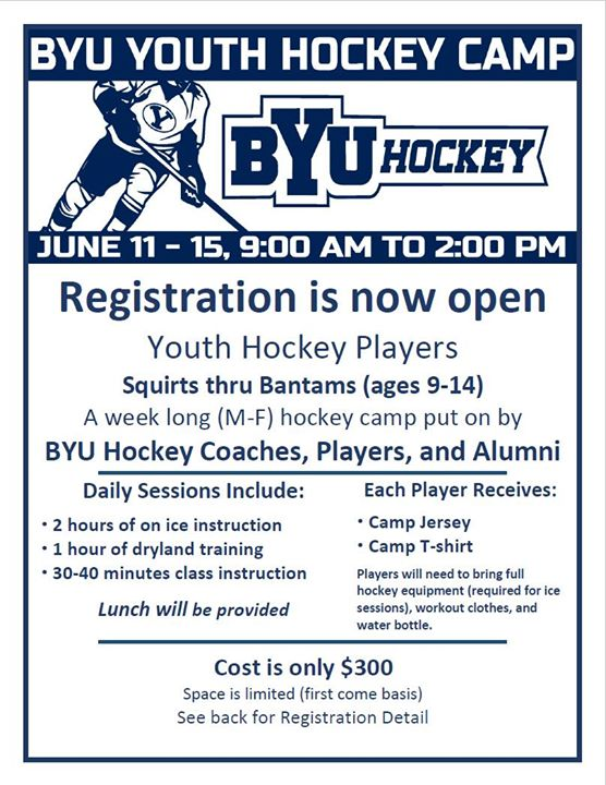 BYU Hockey Youth Summer Camp at Peaks Ice Arena c10d3550437