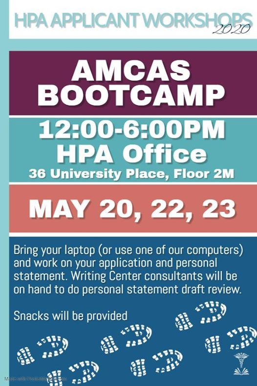 2020 HPA Applicant Workshop: AMCAS Bootcamp at Princeton