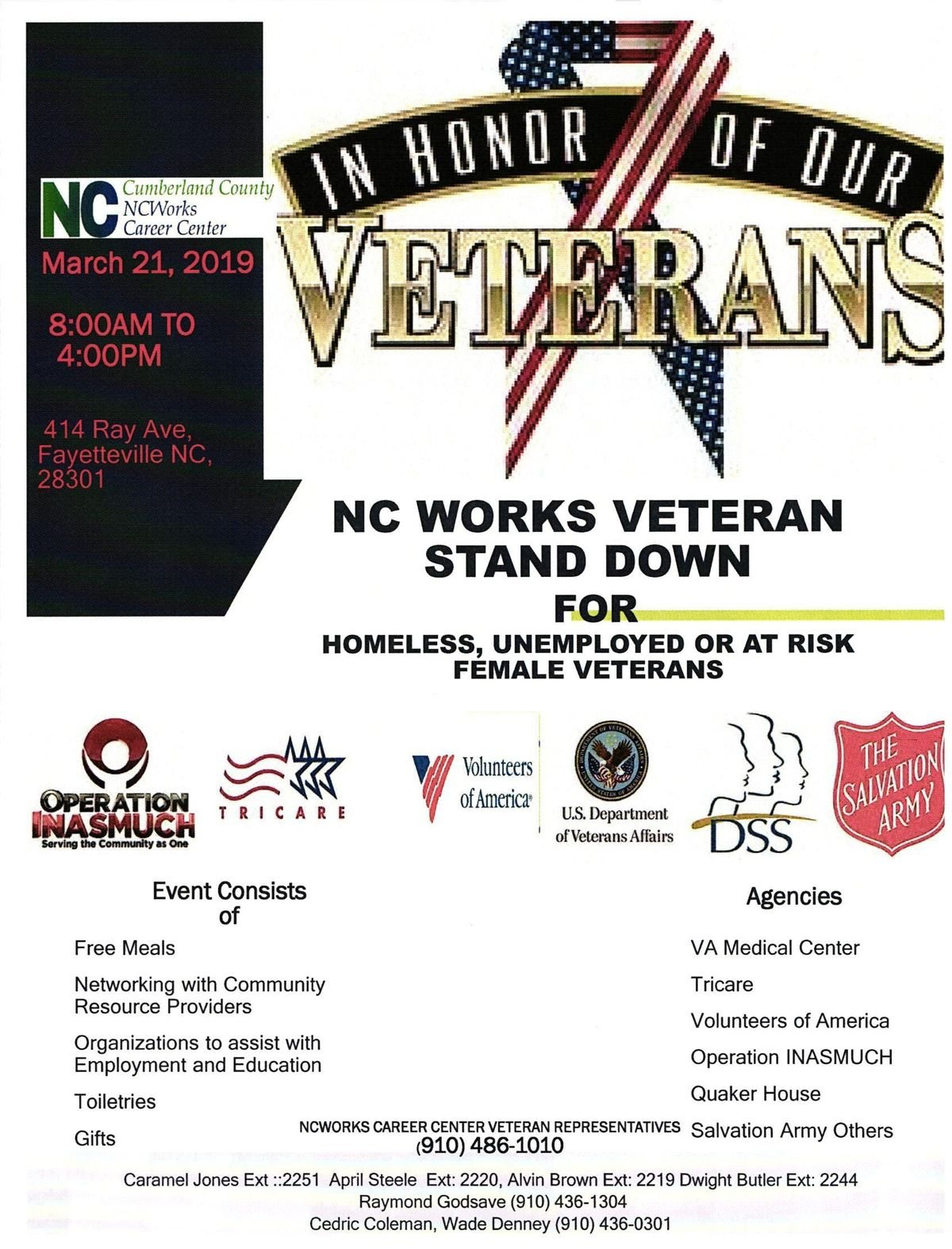 NCWorks Veteran Stand Down for Homeless Unemployed or At Risk Female Veterans