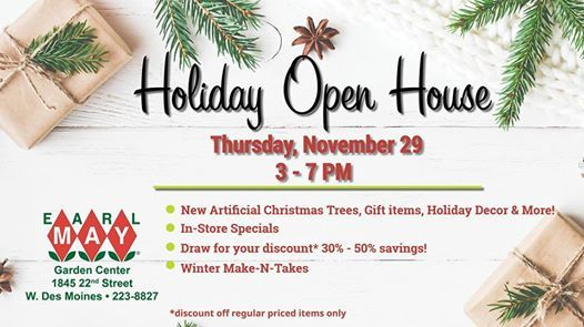 west des moines earl may garden center holiday open house