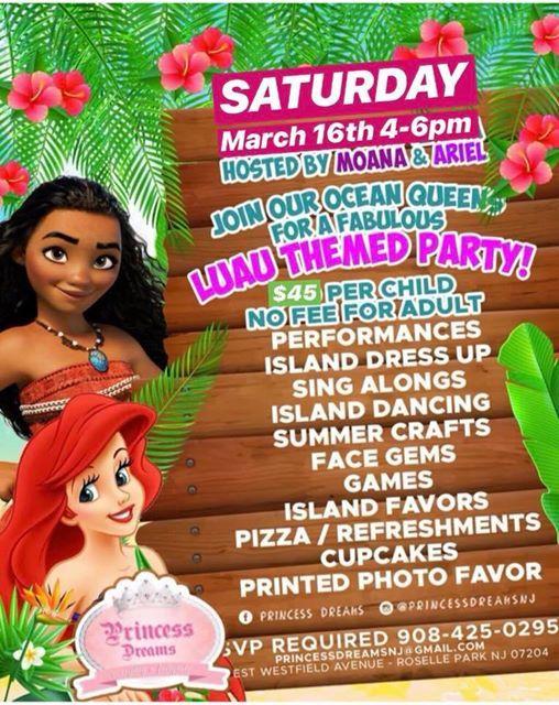 ebcdb8d46850 Luau Party with Moana & Ariel at Princess Dreams, Jersey