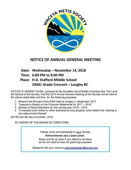 Waceya Mtis Society Notice of Annual General Meeting