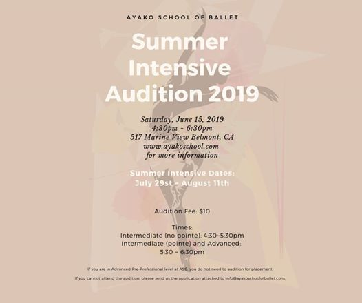 Summer Intensive Audition 2019 at Ayako School of Ballet, Belmont