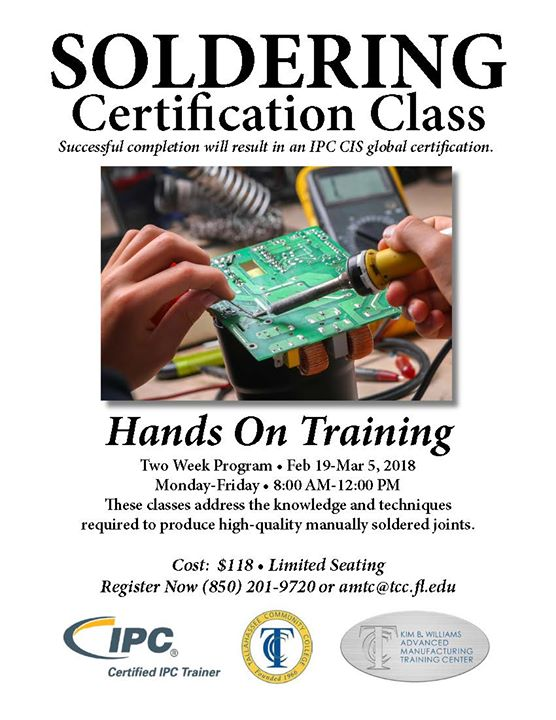 Soldering Certification Class at TCC Advanced Manufacturing