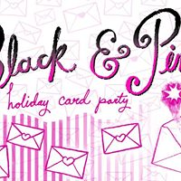 Black and Pink Holiday Card Party