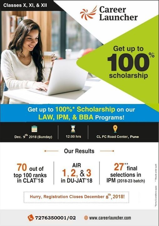 CL Pune organizing a Scholarship Test For LAW IPM BBA Programs